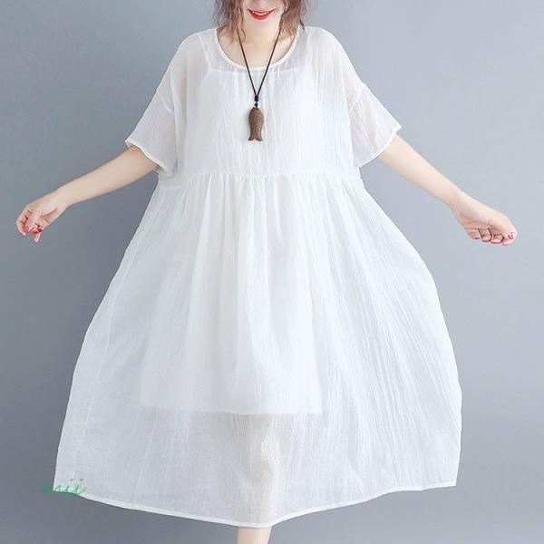 大きいサイズ 森ガール ワンピース 白 半袖 マキシ丈 膝丈 ワンピース ひざ丈 夏 サマードレス miistore 02