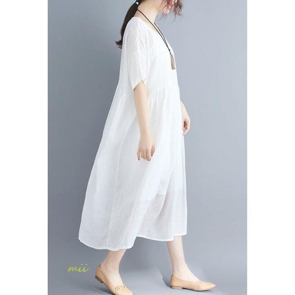 大きいサイズ 森ガール ワンピース 白 半袖 マキシ丈 膝丈 ワンピース ひざ丈 夏 サマードレス miistore 03