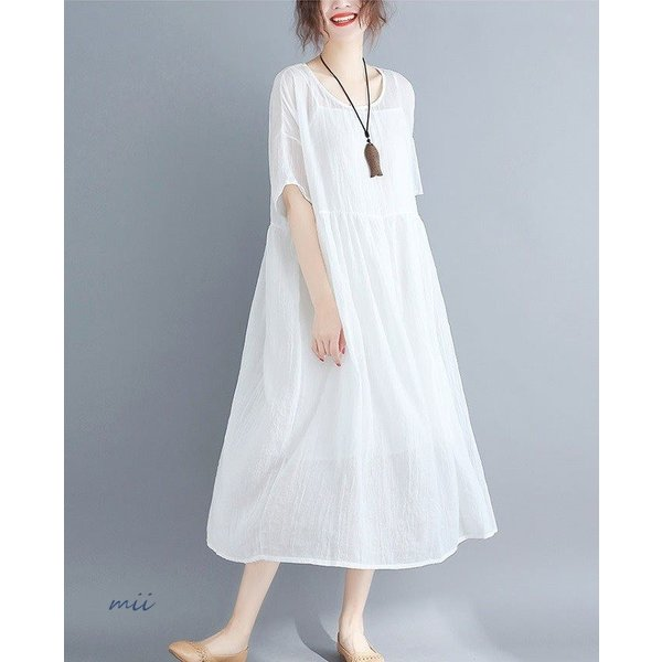 大きいサイズ 森ガール ワンピース 白 半袖 マキシ丈 膝丈 ワンピース ひざ丈 夏 サマードレス miistore 04