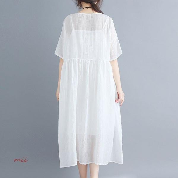 大きいサイズ 森ガール ワンピース 白 半袖 マキシ丈 膝丈 ワンピース ひざ丈 夏 サマードレス miistore 05