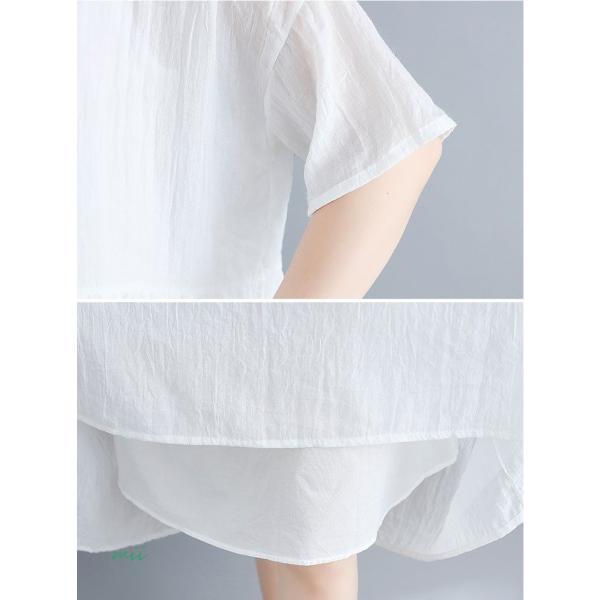 大きいサイズ 森ガール ワンピース 白 半袖 マキシ丈 膝丈 ワンピース ひざ丈 夏 サマードレス miistore 08