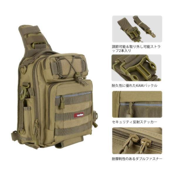 ピシファン(Piscifun)ワンショルダーバッグ 4way多機能バッグ タックルバッグ 1000D防水ナイロン 釣り用 アウトドア用 撮影