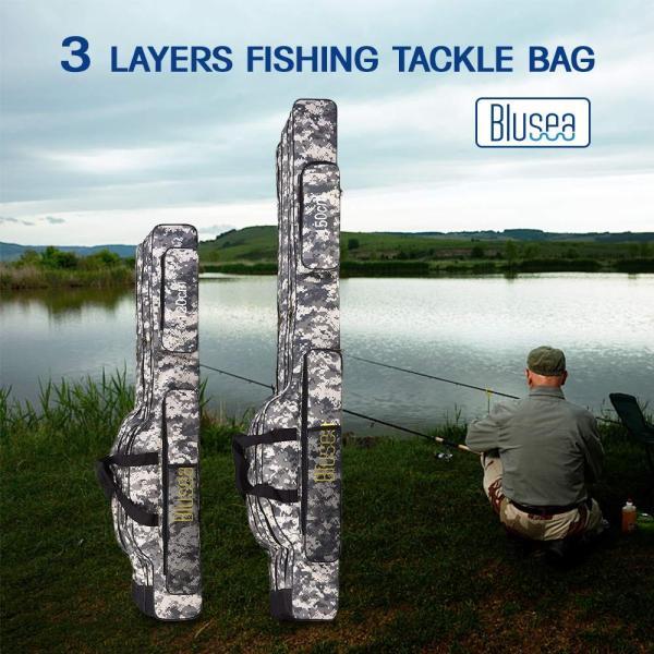 LIXADA ロッドケース 釣竿ケース フィッシングバッグ 釣りロッド  大容量 竿袋 カモフラージュ 150cm|mikannnnnn|02
