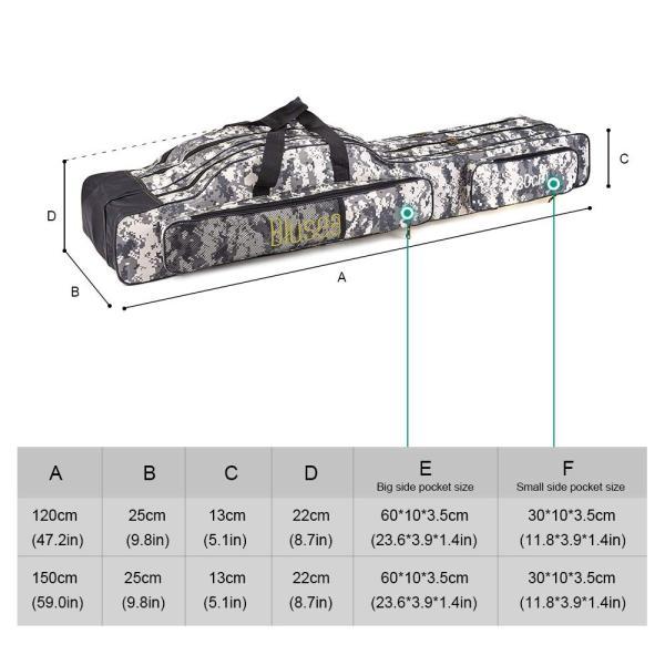 LIXADA ロッドケース 釣竿ケース フィッシングバッグ 釣りロッド  大容量 竿袋 カモフラージュ 150cm|mikannnnnn|05