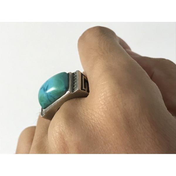 一粒本物天然トルコ石 ターコイズ リング シルバー メンズ誕生日プレゼント 12月誕生石 指輪 6121