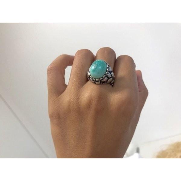一点物 メンズリング レディースリング 一点物 トルコ石リング ターコイズリング リング シルバーリング 12月誕生石 指輪 5152