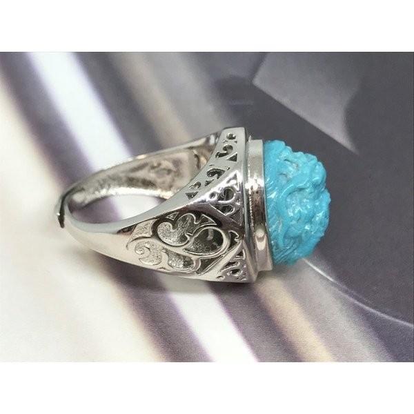 一粒本物天然トルコ石 ターコイズ リング シルバー メンズ誕生日プレゼント 12月誕生石 指輪 6122