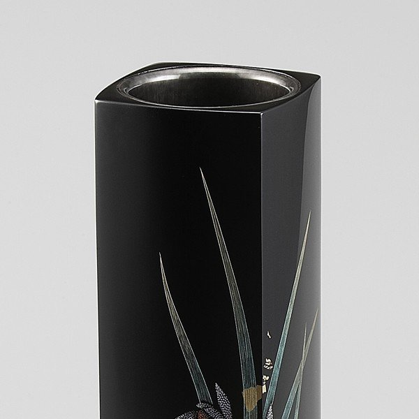 輪島塗 花器 蘭沈金 角型 桐箱入り (漆器・花瓶)|miki-holz|03