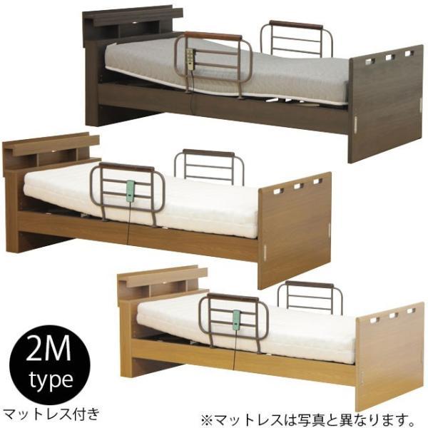 電動リクライニングベッド 2モータータイプ 宮付き 電動ベッド 手摺付き シングルベッド ウレタンマットレス付き 在宅用 ベッド