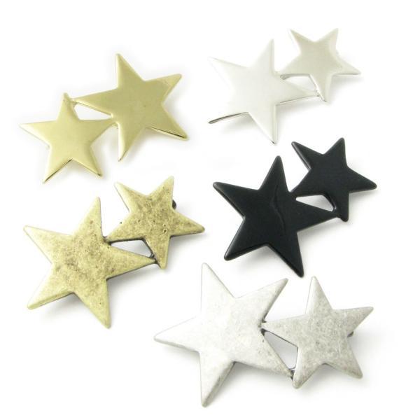 ブローチ 星 スター 流れ星 ツインスター ピン ラペルピン KS40021