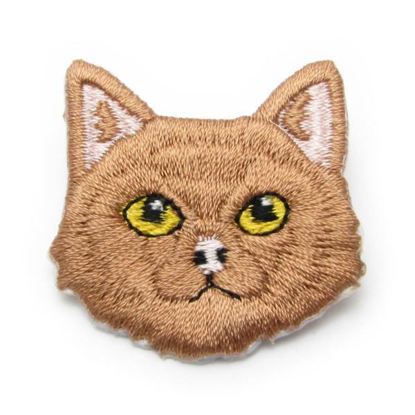 ブローチ 猫 ねこ ネコ 刺繍 ワッペン バッチ ピン KS48016