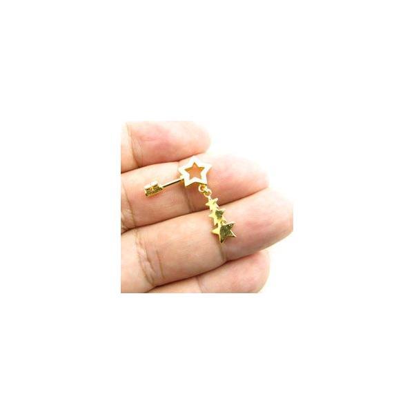 ボディピアス  ゴールドカラー ステンレス ストレートバーベル 鍵 カギ ハート 星 スター 王冠 クラウン 16G stb412