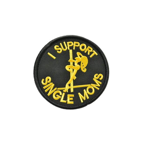 布製 丸型 I SUPPORT SINGLE MOMS ミリタリー ワッペン パッチ サバゲー ベルクロ付 下地黒 柄黄
