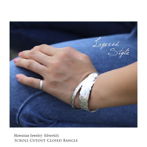 ハワイアンジュエリー バングル ブレスレット レディース 名入れ 刻印無料 シルバー925 ハワジュ クローズバングル B1040-18 millionbell 13