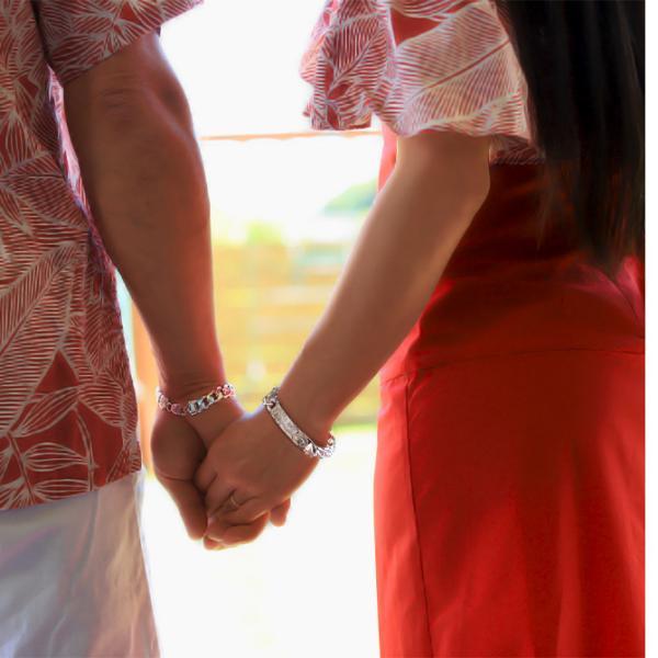 ハワイアンジュエリー ブレスレット 刻印無料 誕生石 名入れ IDプレートバングル11mm メンズ BY THE SEA BL101 /送料無料|millionbell|03
