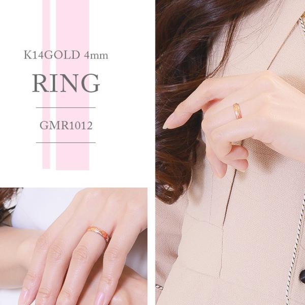 ハワイアンジュエリー ペアリング ピンクゴールド イエローゴールド 指輪 2本セット 14金 K14 刻印無料 ブランド ピンキーリング ハワジュ GMR1011-GMR1012P|millionbell|07
