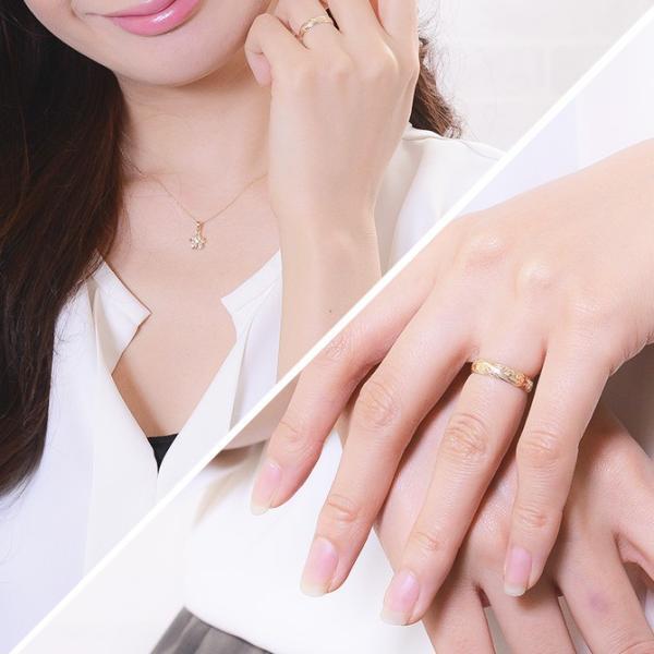 ハワイアンジュエリー ペアリング ピンクゴールド イエローゴールド 指輪 2本セット 14金 K14 刻印無料 ブランド ピンキーリング ハワジュ GMR1011-GMR1012P|millionbell|08