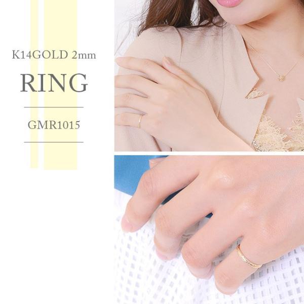 ハワイアンジュエリー 指輪 リング レディース ピンキーリング メンズ ブランド ゴールド K14 14金 シンプル ハワジュ 刻印無料 GMR1015|millionbell|07