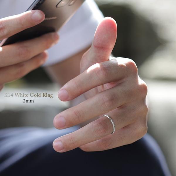 ハワイアンジュエリー リング 指輪 刻印無料 K14ホワイトゴールド 14金 メンズ レディース 1号〜19号 ピンキー ハワジュ ブランド GMR1017|millionbell|04