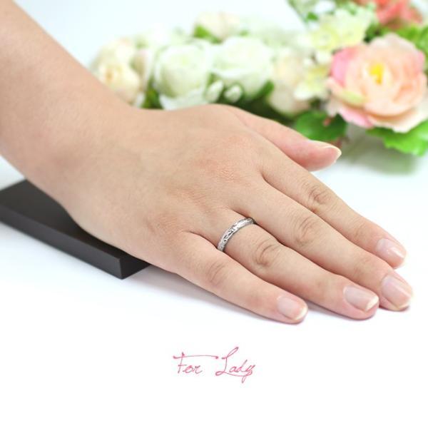 ハワイアンジュエリー 指輪 ホワイトゴールド K14 14金 レディース メンズ ブランド 結婚指輪 マリッジリング ハワジュ 刻印無料 GR201W|millionbell|03