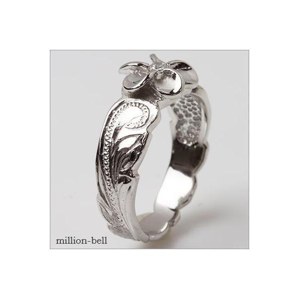 ハワイアンジュエリー 指輪  ピンキーリング 刻印無料 プルメリア ロジウムコーティング tmr1361 /ネコポス便で送料無料 シルバー925|millionbell|06