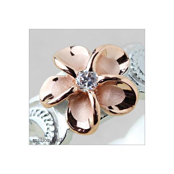 ハワイアンジュエリー 指輪 レディース リング シルバー925 シンプル ハワジュ ピンク プルメリア 刻印無料 TMR1367|millionbell|03