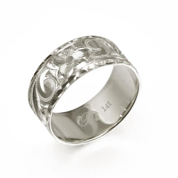 ハワイアンジュエリー 結婚指輪 リング 刻印無料 誕生石 名入れ マリッジリング 14K ホワイトゴールド オーダーメイド WF8A-C /送料無料