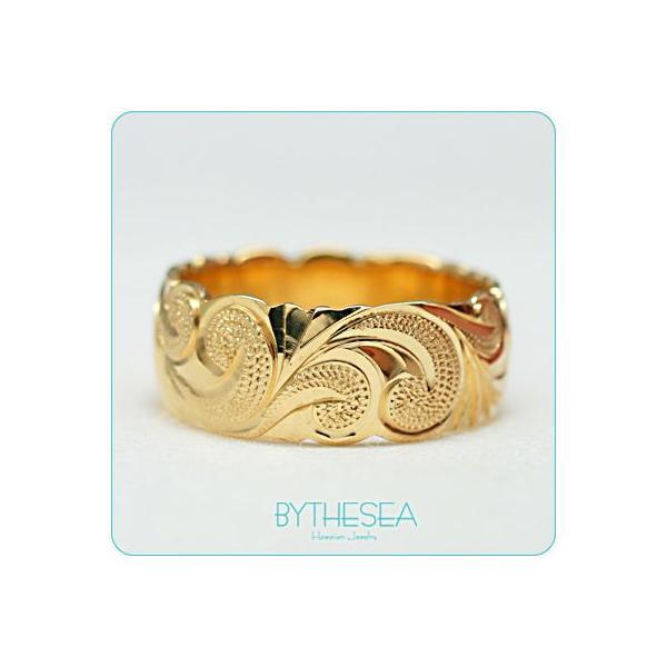 ハワイアンジュエリー 結婚指輪 リング 刻印無料 誕生石 名入れ マリッジリング 14Kゴールド オーダーメイド YB8E-A /送料無料