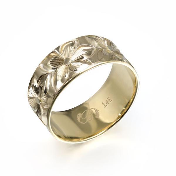 ハワイアンジュエリー 結婚指輪 リング 刻印無料 誕生石 名入れ マリッジリング 14Kゴールド オーダーメイド YF8D-E /送料無料