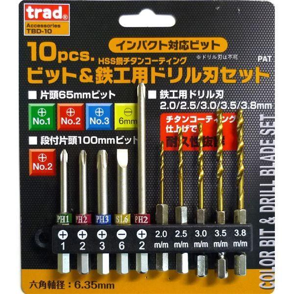 96b4147a7c95 ポイント15倍(業務用10セット) TRAD ドライバー&チタンドリル刃セット ...