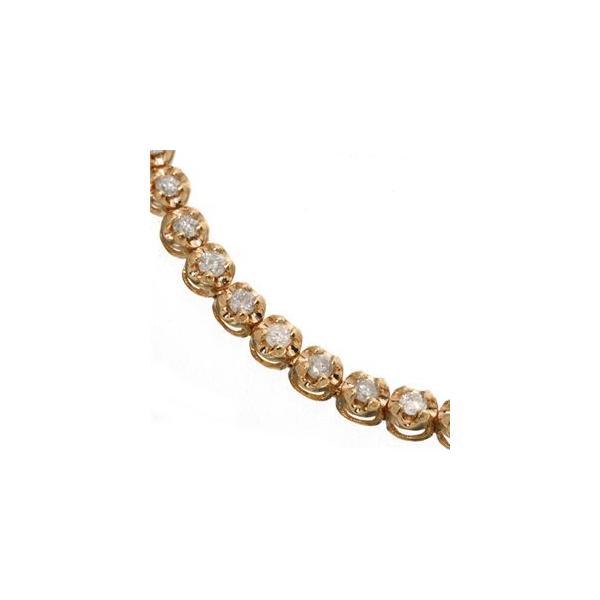ポイント15倍1ctダイヤモンドテニスブレスレット ピンクゴールドカラー送料無料