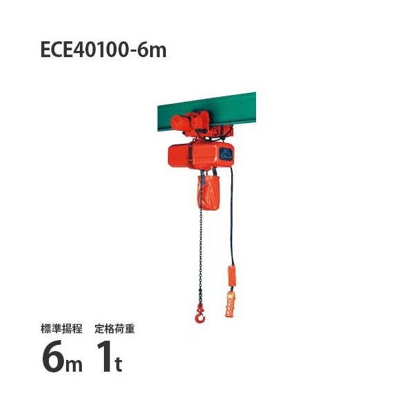 ニッチ 電動横行式 電気チェーンブロック 4点押ボタン式 三相200V ECE40100-6m (1t/標準揚程6m/操作電圧24V)