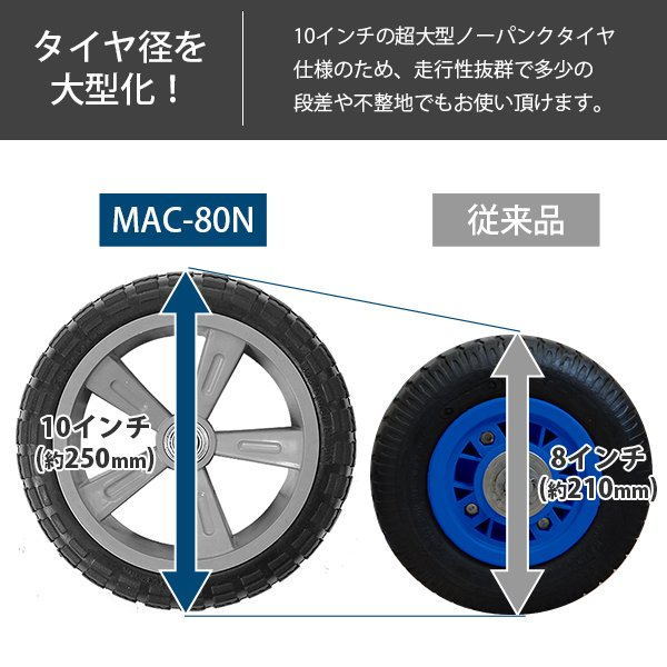 ミナト アルミハウスカー MAC-80N (大型ノーパンクタイヤ/コンテナ3個用/最大荷重80kg)|minatodenki|03