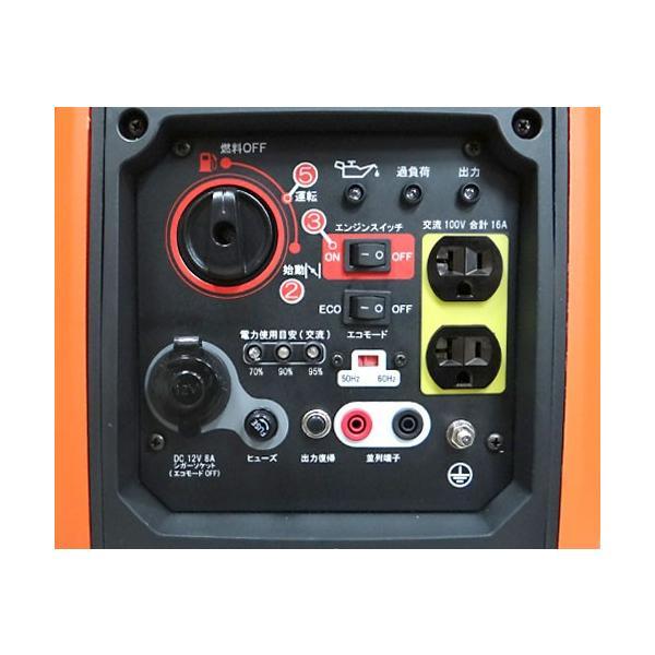 工進 インバーター発電機 GV-16i (単相100V/定格出力1600VA/超低騒音型)|minatodenki|02