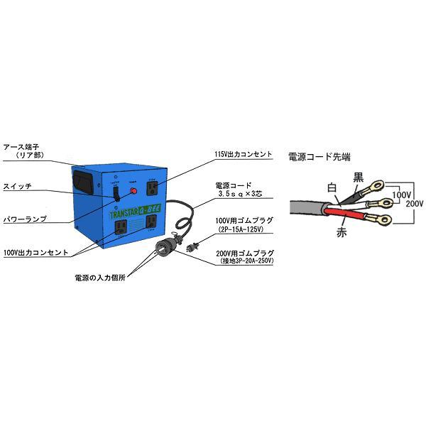 スズキッド ダウントランス トランスター STX-3QB (昇圧機能付き) [スター電器 SUZUKID 降圧変圧器 降圧トランス] minatodenki 04