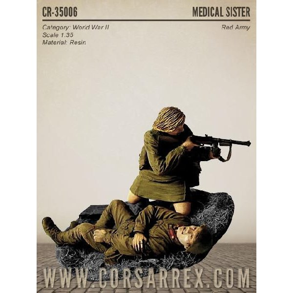 ロシア軍 反撃する女子衛生兵と倒れた兵士(2体入。ベース付) MEDICAL ...