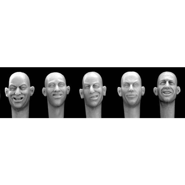 無帽ヘッド 5個 笑顔  5 different heads laughing, joking 1/35 [HH11]