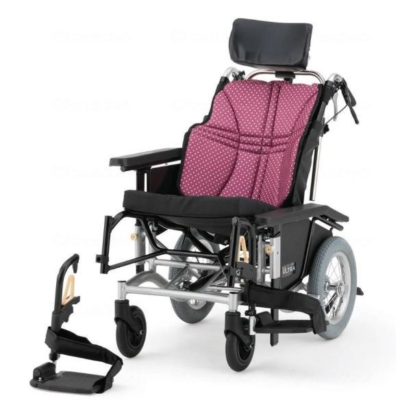 電動ティルト・リクライニング介助式車椅子 NAH-UC・Hi電動 ワイン<日進医療器>