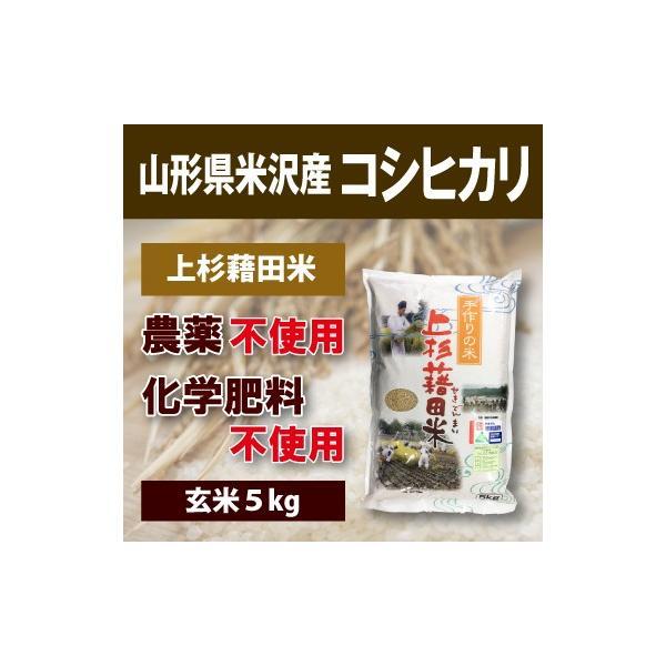 【2020年度産】山形県米沢産 コシヒカリ 完全無農薬 5kg (玄米)上杉藉田米 minorinokai