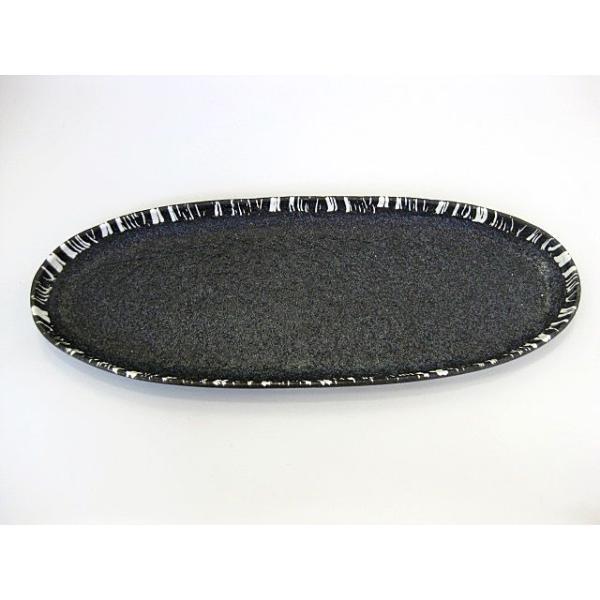 碗碗館 美濃焼 国産 黒マット十草長皿 20%OFF ラッピング可|minoyakisquare