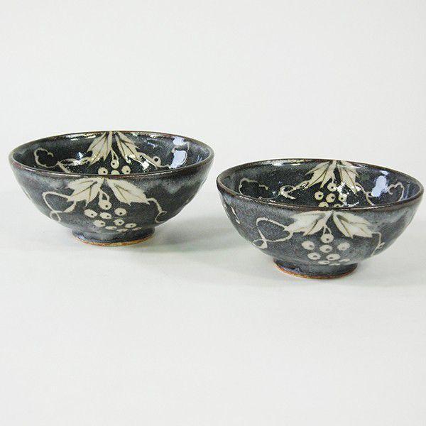 織部 美濃焼 鼠志野ぶどう夫婦茶碗(玉山窯) ラッピング可|minoyakisquare
