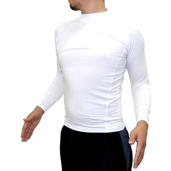 アンジェロビートニック ランニングウェアコンプレッションスポーツシャツアンダーウェアハイネック長袖メンズホワイトM