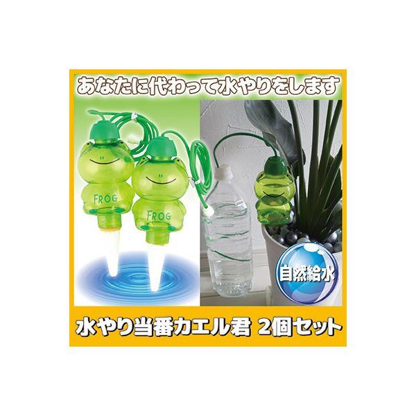 水やり当番カエル君 2個セット 自動水やり 自動給水 水枯れ防止 観葉植物 家庭菜園