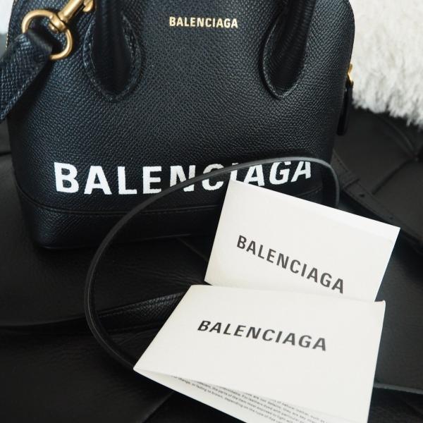 バレンシアガ BALENCIAGA ロゴプリント レザー Ville XXS バッグ ブラック レディース 新作 2019