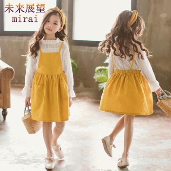 e99954670c7ca 韓国子供服 秋着 ワンピース 2点セット 女の子 可愛い 吊りスカート+ 長袖ブラウス