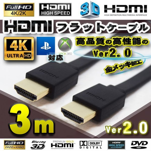 HDMIフラットケーブル300cm(3m)4K3D対応Ver2.0フルハイビジョン全国