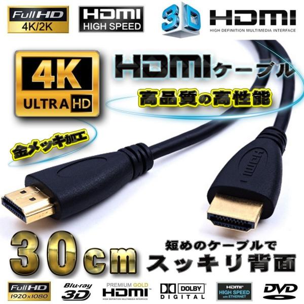 HDMIケーブル0.3m4K3D対応フルハイビジョン背面美人 ver2.0