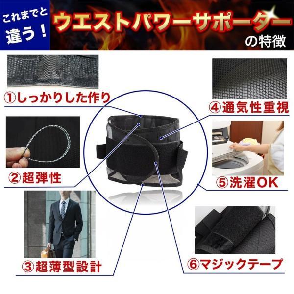 SALE ウエストパワーサポーター シェイプアップ 腰痛対策 腰用 腰痛ベルト 男女 兼用 人気 幅広 薄型 メッシュ セール miriimerii 04