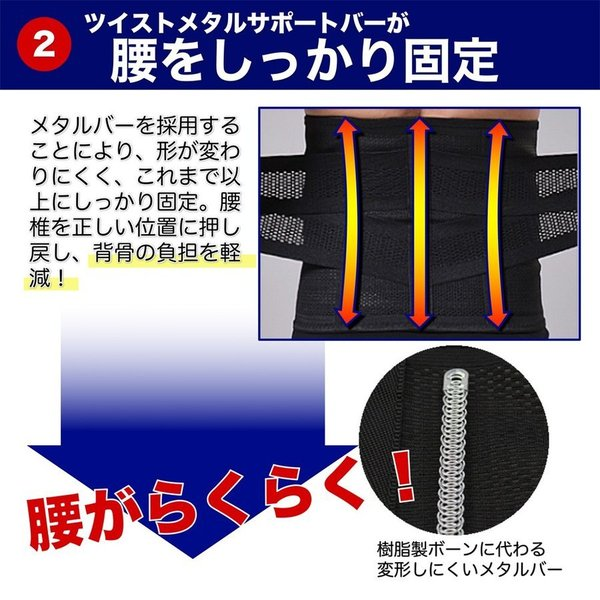 SALE ウエストパワーサポーター シェイプアップ 腰痛対策 腰用 腰痛ベルト 男女 兼用 人気 幅広 薄型 メッシュ セール miriimerii 08