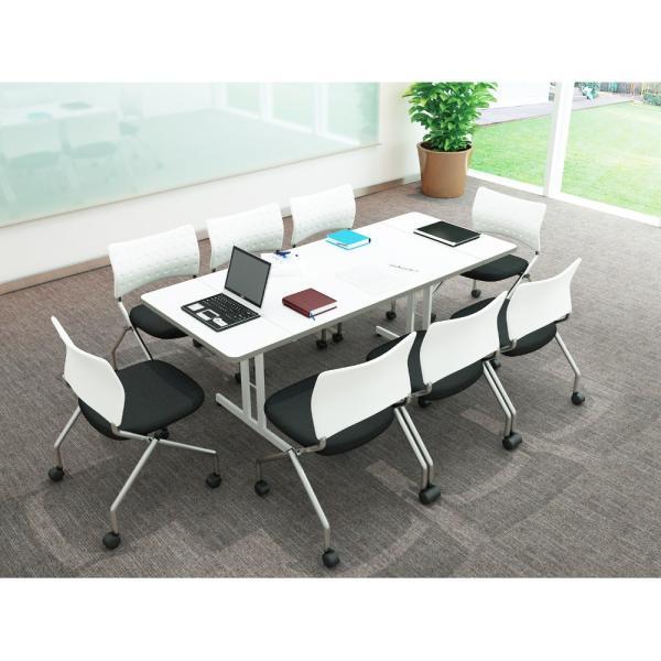 伸縮ミーティングテーブル 1800 1500 1200 会議用 オフィステーブル ホワイト|misae|02